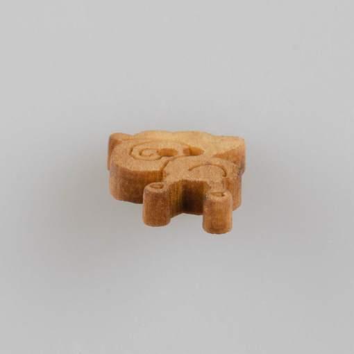 Guzik drewniany Ślimak, 2 dziurki, naturalne drewno, DYI