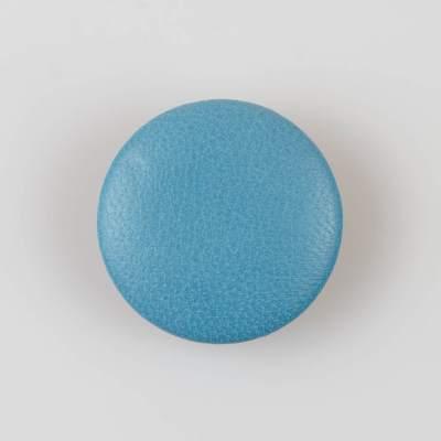 Guzik niebieski obciągany skórą cielęcą 38 mm