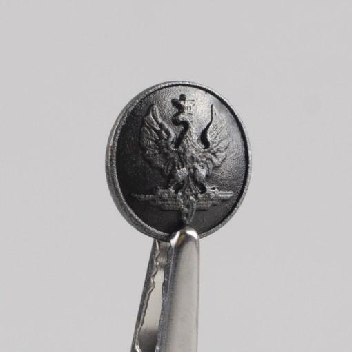 Polski guzik kolejowy z orłem wzór 1928 kolor stary mosiądz śr. 16 mm