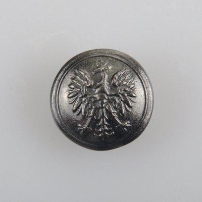 Policyjny guzik z orłem kolor stare srebro śr. 16 mm wzmocnienie werniks (Nowy wzór 2018)