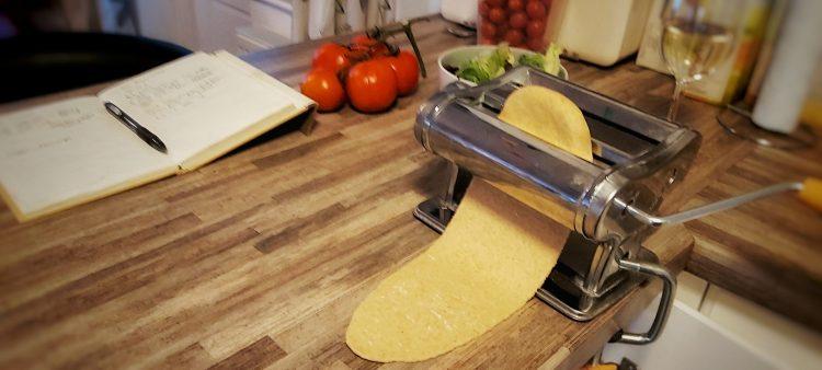 Rolling out vegan pasta dough