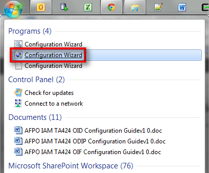 Screenshot - Start Menu - Weblogic Configuration Wizard