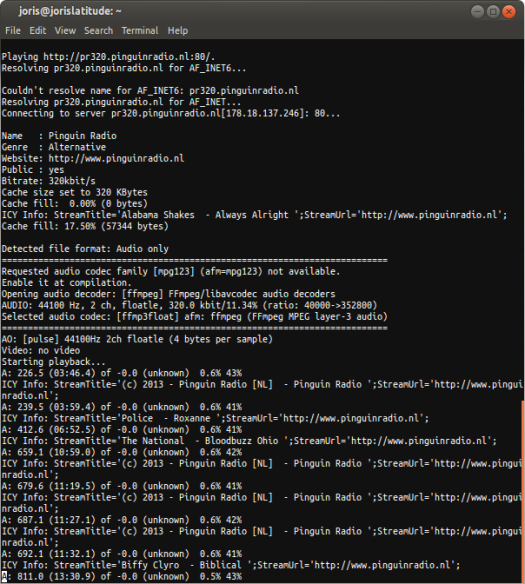 Screenshot Mplayer in Terminal on Ubuntu