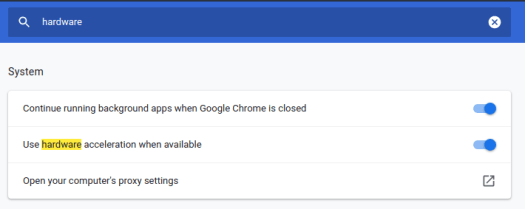 (You can click this link to go there directly: chrome://settings/?search=hardware)