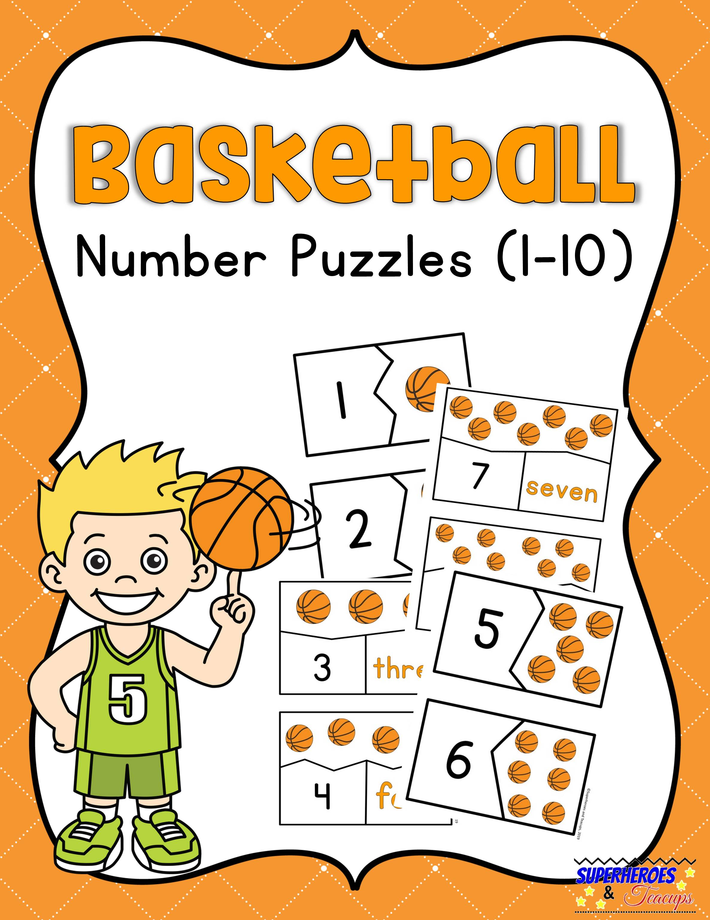 Basketball Number Puzzles Free Printable For Kids
