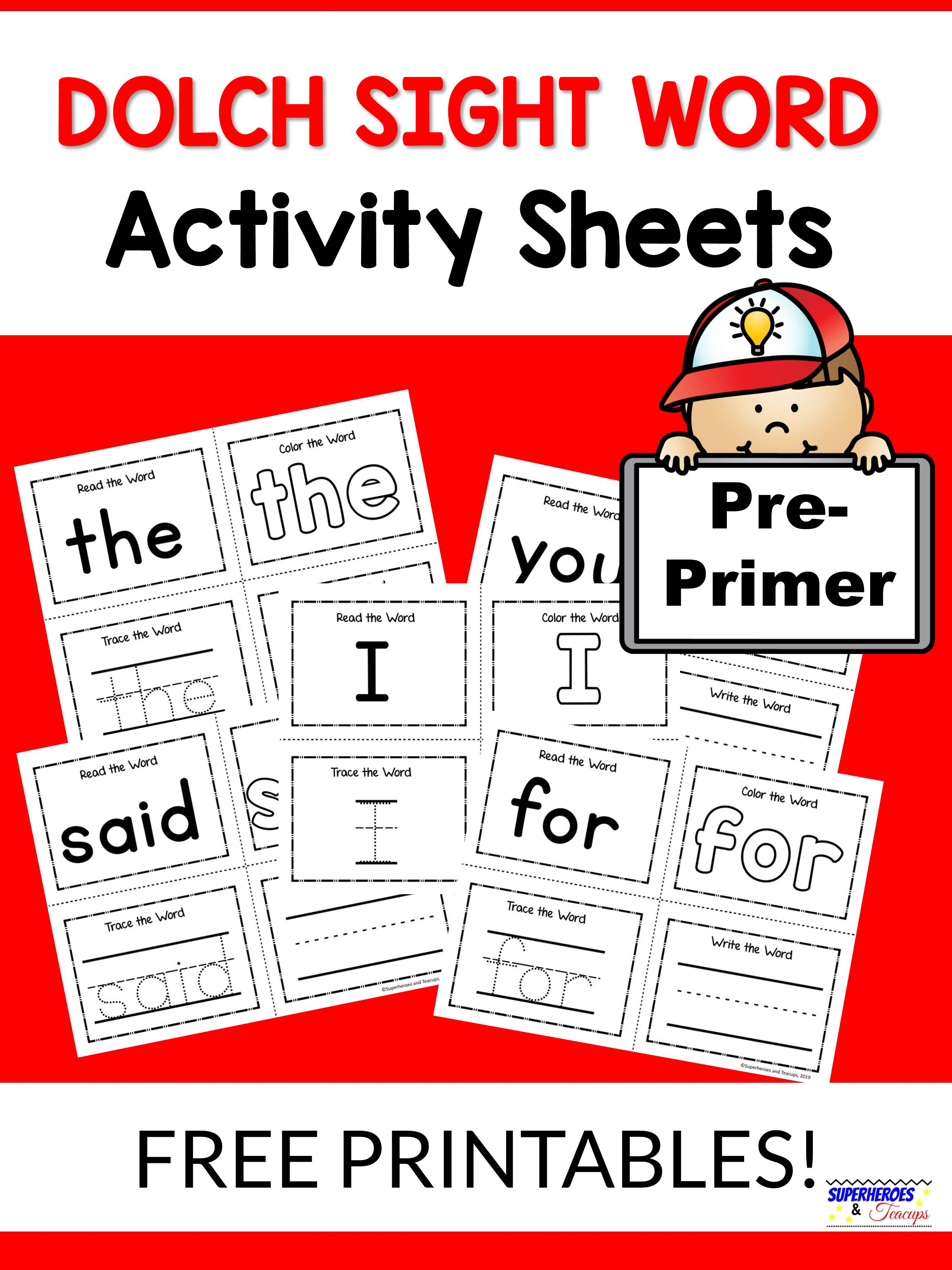 Pre Primer Dolch Sight Word Activity Sheets