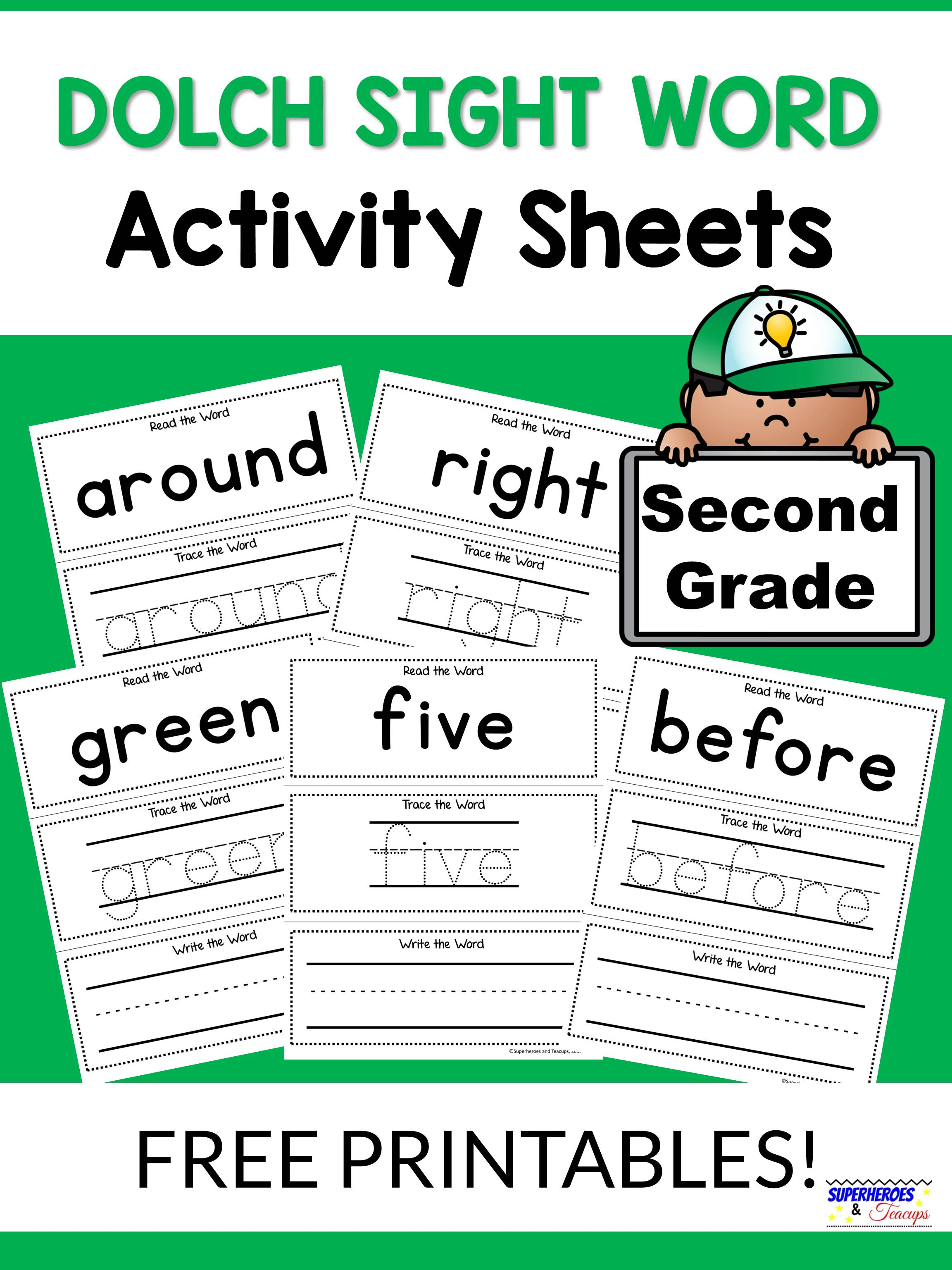 Second Grade Dolch Sight Word Activity Sheets