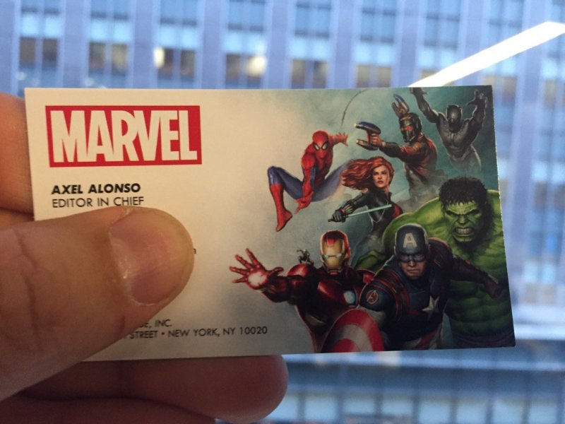 Marvel business card features movie artwork... including Spider-Man ...