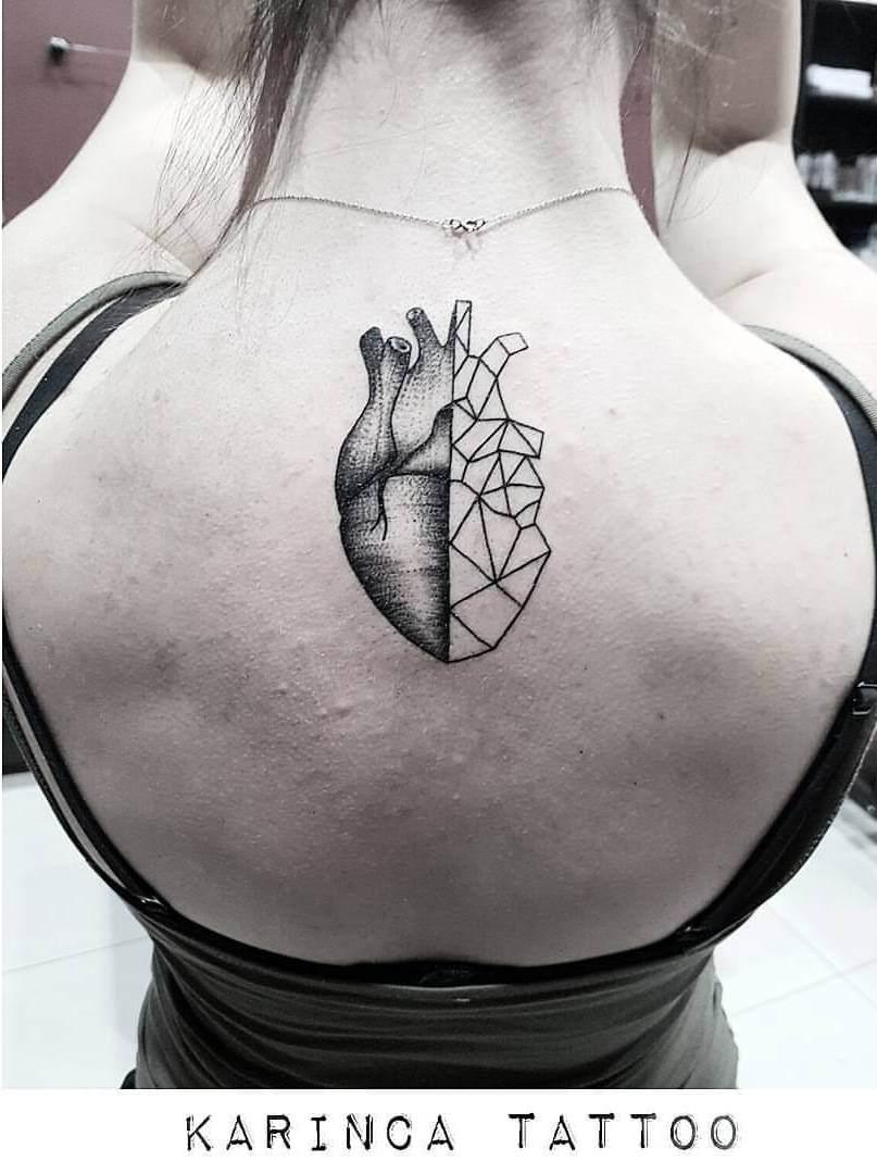 Black And White Heart Tattoo : black, white, heart, tattoo, Geometric, Heart, Tattoo, Design, Ideas, Loving, People