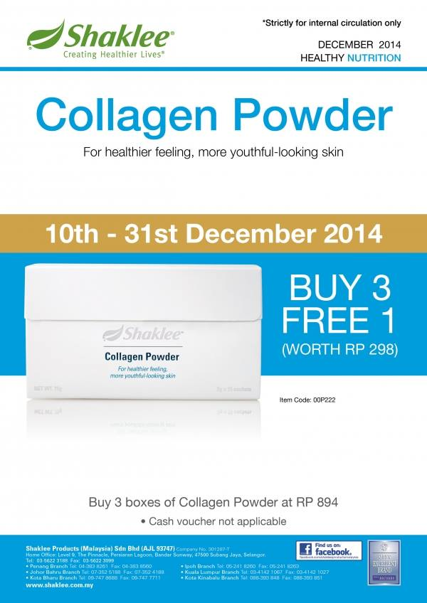 Promosi Shaklee Collagen Powder Beli 3 free 1