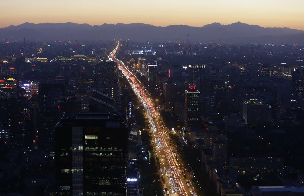 Pekin'de akşam trafiği