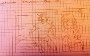 Rough layout for page two of Technoskin