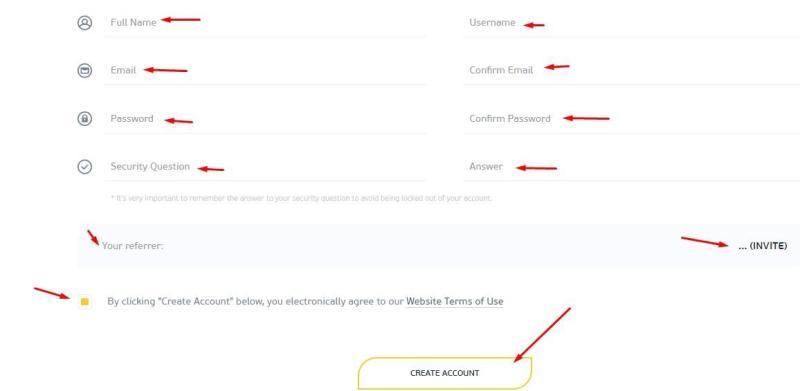 регистрационная форма в проекте finastone