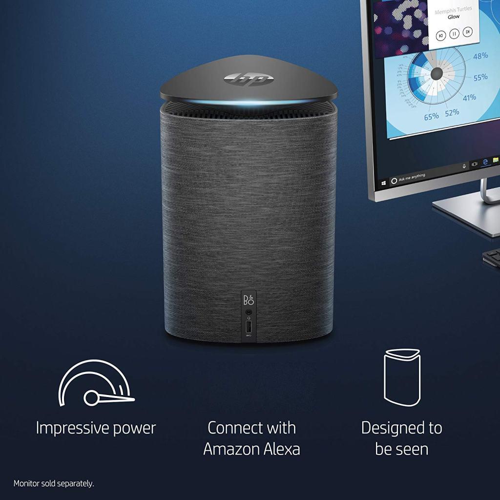 Superior Digital News - HP Pavilion Wave Compact Desktop Computer with Amazon Alexa, Intel Core i5-7400T, 8GB RAM, 1TB hard drive, 256GB SSD, Windows 10 (600-a310, Black-Fabric) design
