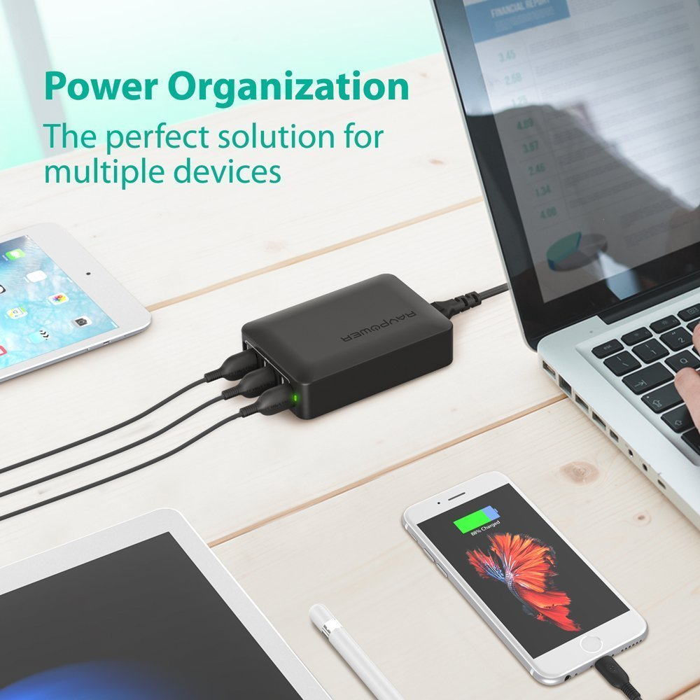 Superior Digital News - RAVPower 60W 12A 6-Port USB Charger Multi-Device Power