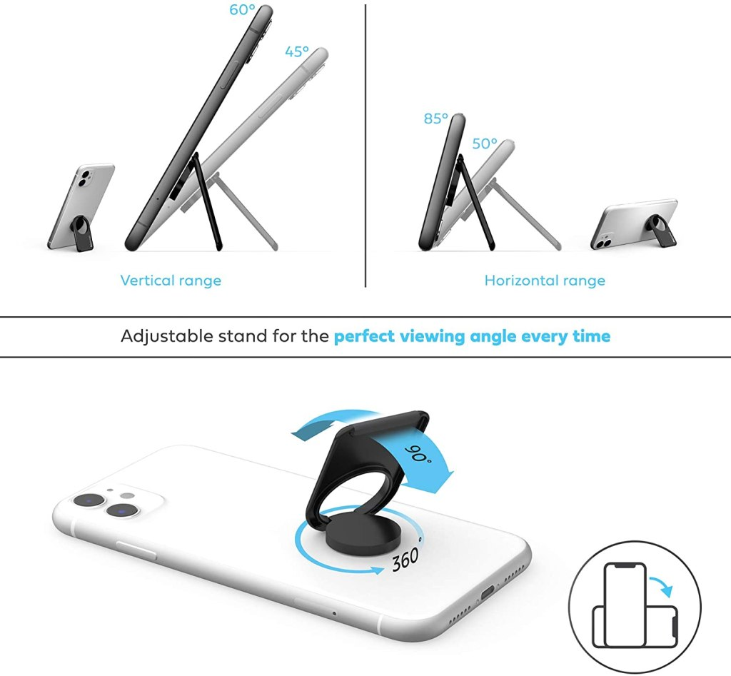 phonetag - Finger Ring Phone Holder - Kickstand Features