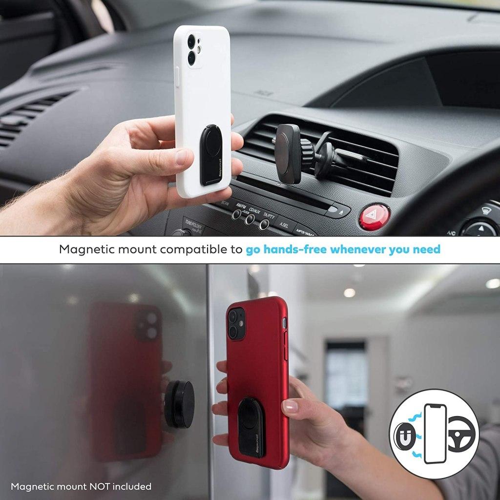 phonetag - Finger Ring Phone Holder -Magnetic Mount Compatibility