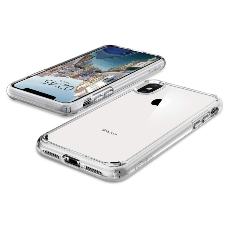 Superior Digital News - Spigen Ultra Hybrid iPhone XS Max Case - Crystal Clear - Front and Back
