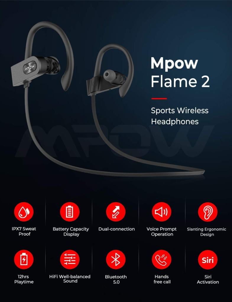 MPOW Flame 2 Bluetooth Sport Earphones - Features