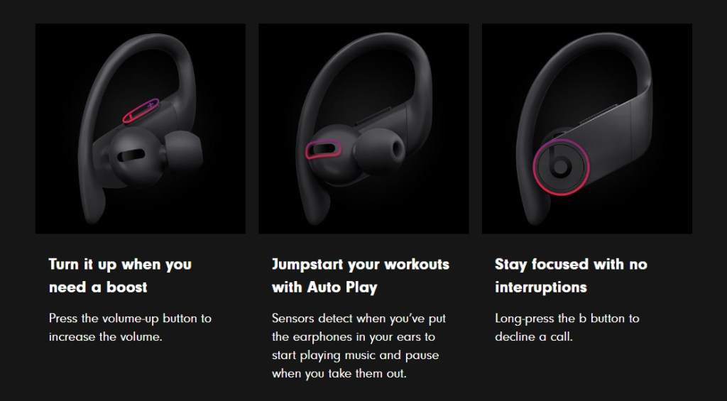 Powerbeats Pro True Wireless Fitness Headphones | Built In Controls