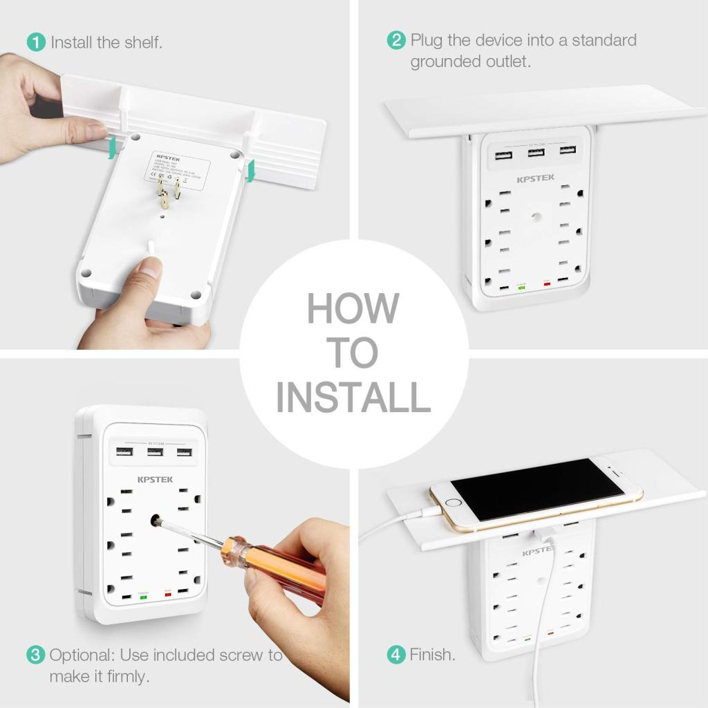 KPSTEK-Multi-Plug-Outlet-Shelf-Easy-Installation