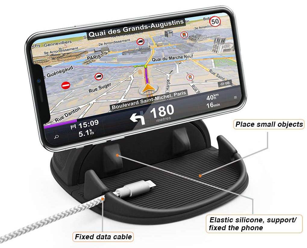 Loncaster Non-Slip Car Phone Mount - Cable Clip & Tray