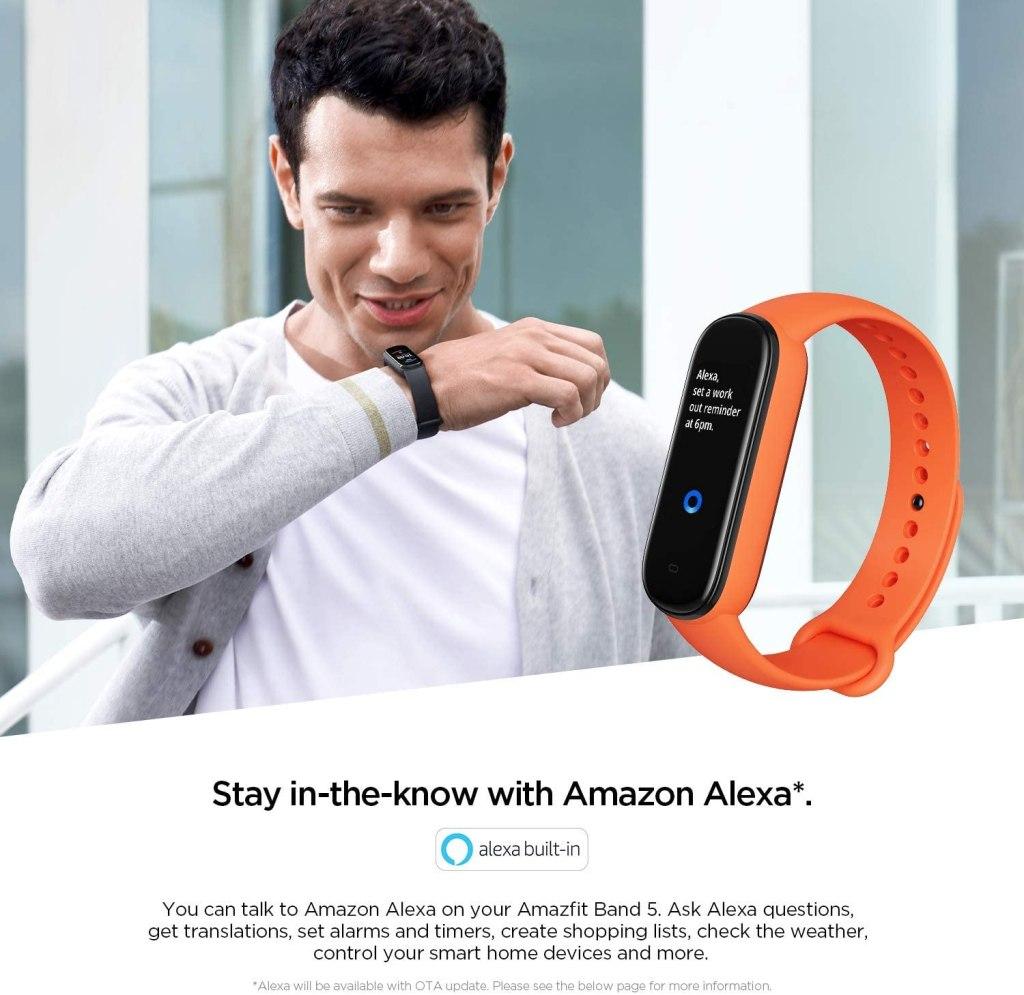 Amazfit Band 5 Integrated Amazon Alexa Assistant
