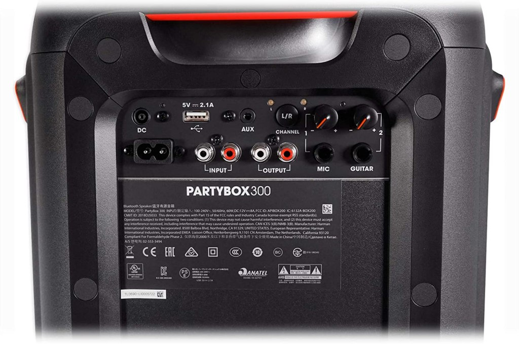 JBL PartyBox 300 Inputs and Outputs