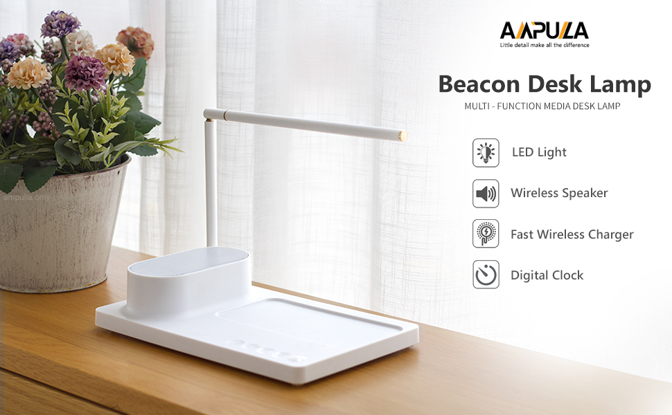 Ampulla Beacon Bluetooth Speaker with Wireless Charger