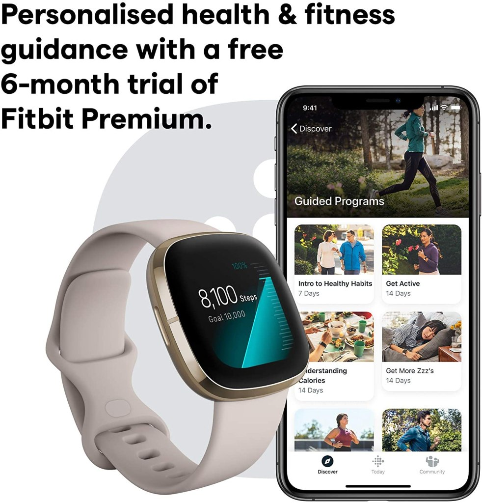 Fitbit Sense Fitness Smartwatch for Women - Free 6-Month Premium Trial