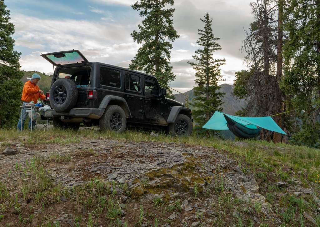 Jeep Camping with Superior Hammock and Shelter