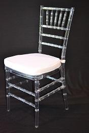 Clear Resin Chiavari Chair With White Cushion  Superior