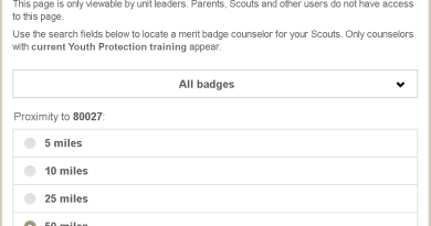 Picture of Scoutbook MB Counselors webpage.