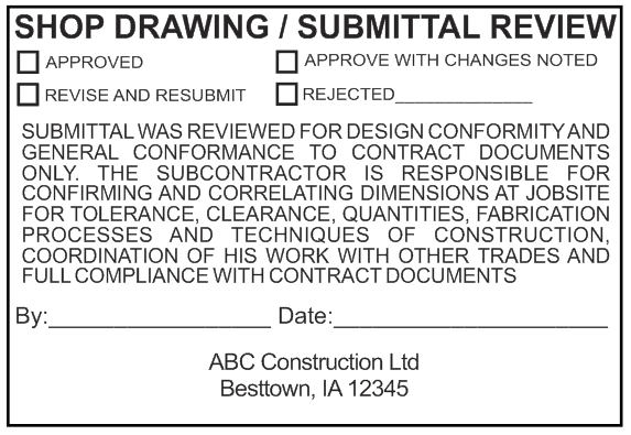 Stamp Shop Central - Shop Drawings Submittal Review Stamp