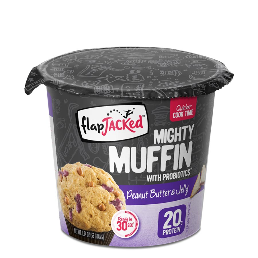 FlapJacked Mighty Muffin (55g) 12 Pack – Peanut Butter & Jelly –