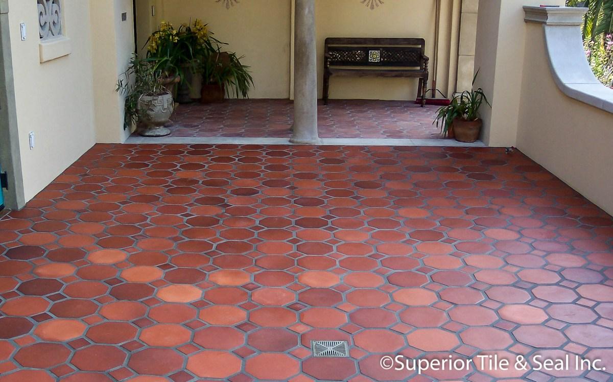 hexagonal terracotta patio tiles
