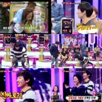 Funny thing SuJu Eunhyuk and Song Ji Hyo carrying each other on 'Strong Heart'