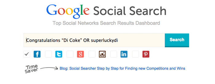 Using Social Searcher to find competition wins