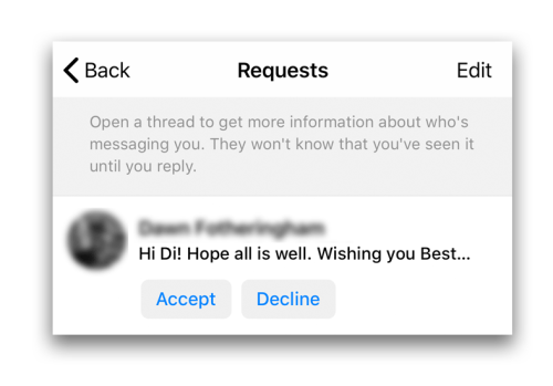 Finding Facebook message requests on Messenger