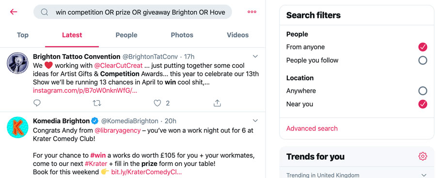Using Twitter to find local competitions