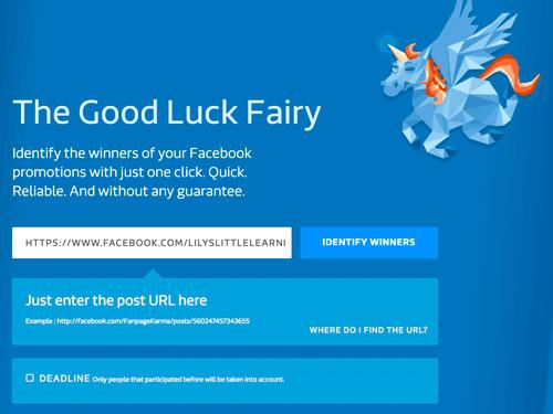 Using Fanpage Karma Good Luck Fairy to choose a random winner
