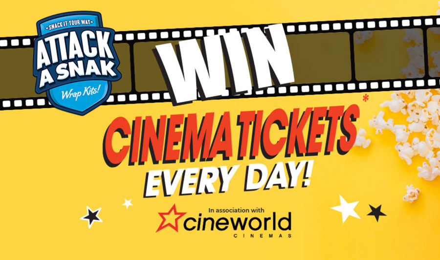 Win Cineworld tickets every day when you buy Attack A Snak