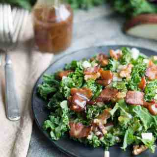 Kale and Pear Salad with Warm Bacon Dressing