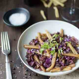 casarecce pasta with braised cabbage, bacon & caramelized onions| superman cooks