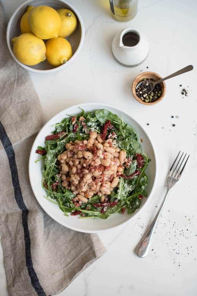 white bean salad with pancetta   superman cooks