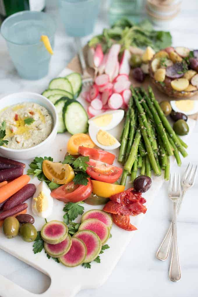 crudité plate + white bean caprese hummus | superman cooks