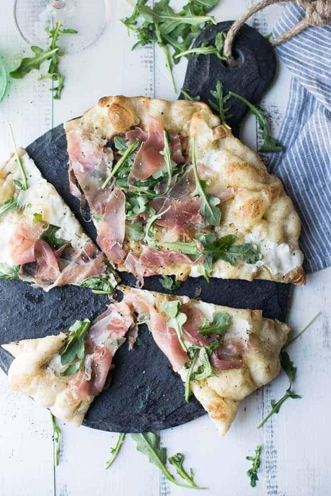 grilled prosciutto & arugula pizza   superman cooks