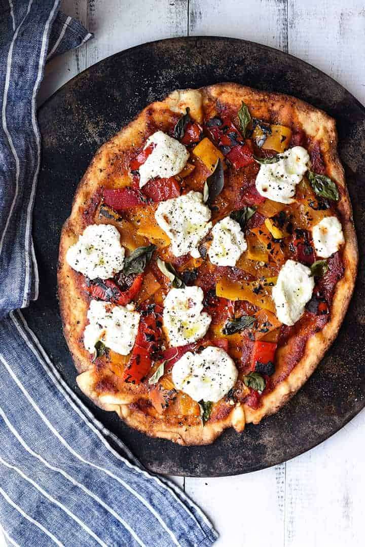 roasted pepper pizza with arrabbiata sauce | superman cooks