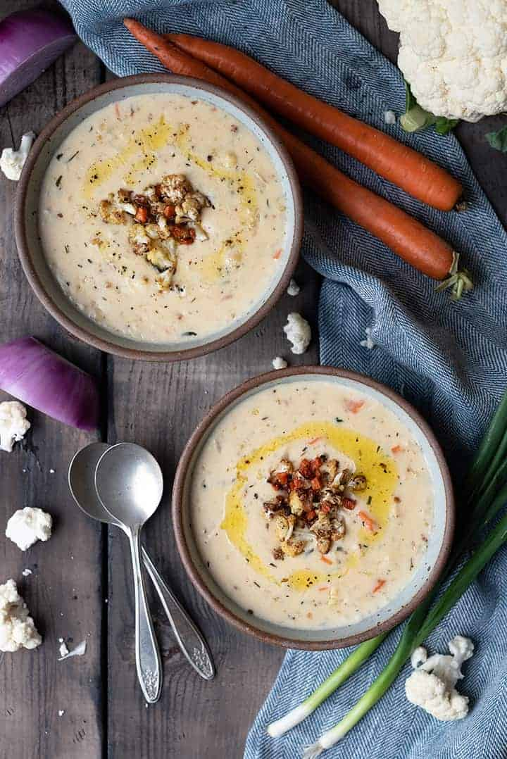 roasted cauliflower soup   superman cooks