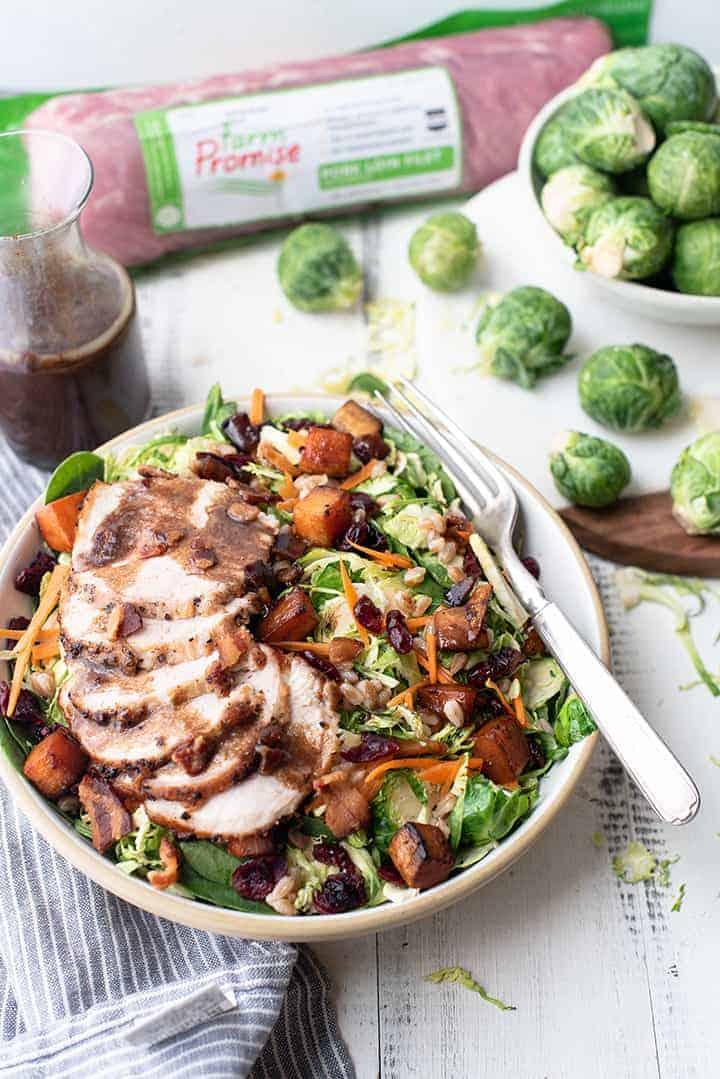 Harvest Brussels Sprouts Bowl with Pork Tenderloin | superman cooks
